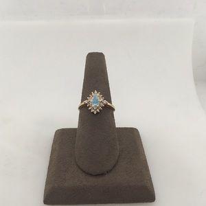 Jewelry - 14K Yellow Gold Opal & Diamond Fashion Ring
